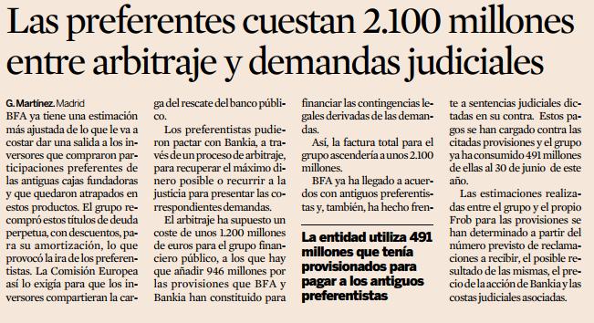 Las preferentes cuestan 2100 millones entre arbitrajes y demandas judiciales