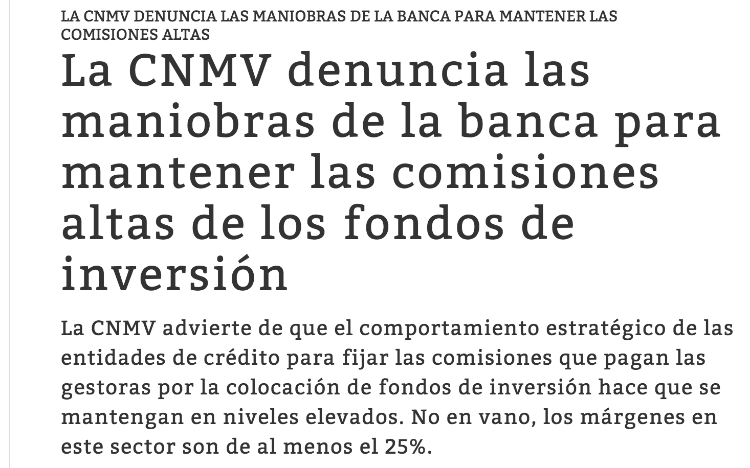 CNMV denuncia las maniobras de la banca