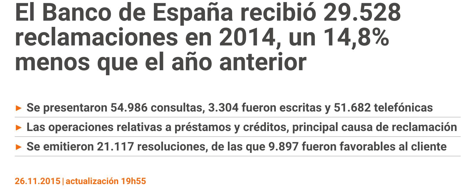 El BdE recibió 29.528 reclamaciones en 2014
