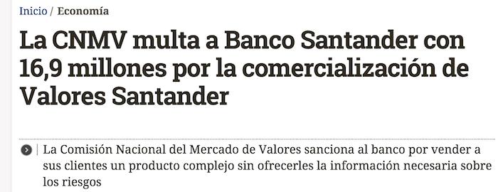 La CNMV multa a Banco Santander con 16,9 millones