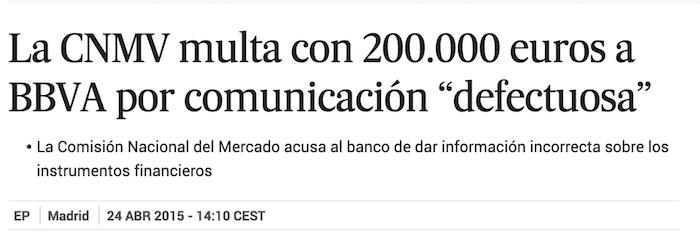 La CNMV multa con 200.000 euros a BBVA