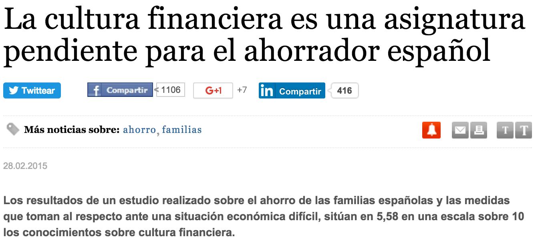La cultura financiera es una asignatura pendiente para el ahorrador español