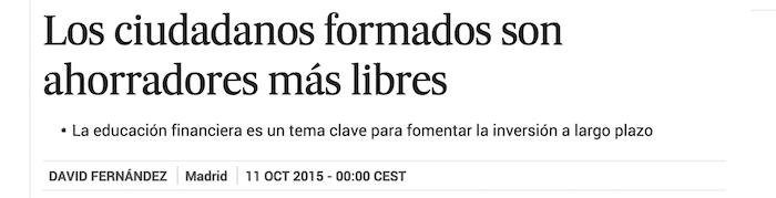 Los ciudadanos formados son ahorradores más libres Economía EL PAÍS