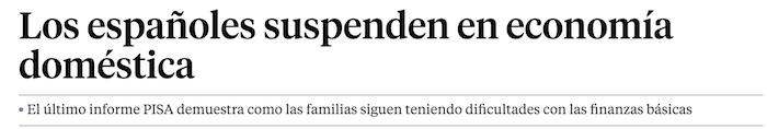 Los españoles suspenden en economía doméstica