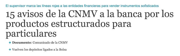15 avisos de la CNMV